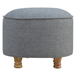 The Artisan Collection - Hand Made Grey Tweed Oval Footstool