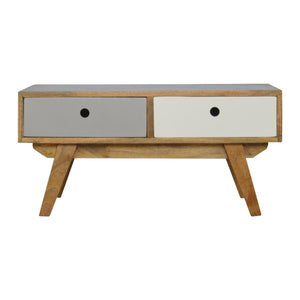 The Artisan Collection - Two Tone Hand Painted Hole Cut Out Coffee Table