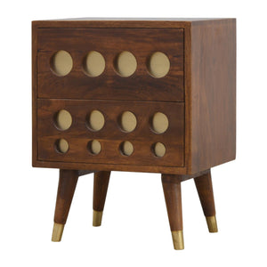The Artisan Collection - Two Drawer Chestnut Nordic Style Bedside Table with Brass Inlay