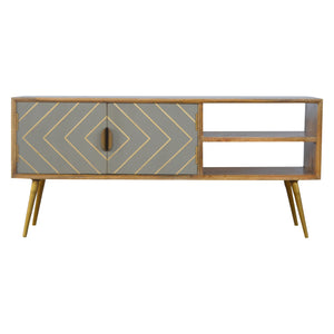 The Artisan Collection - Hand Made Open Nordic Style Media Unit with Two Cement Brass Inlay Doors