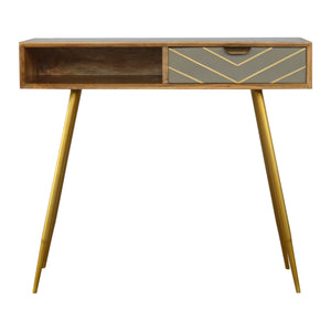 The Artisan Collection - Single Drawer Nordic Style Writing Desk with Single Brass Inlay Drawer