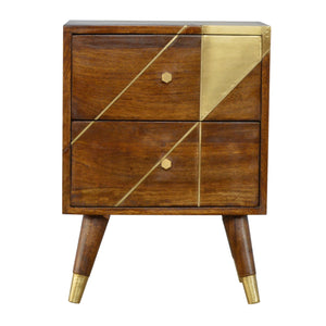 The Artisan Collection - Hand Made Nordic Style Chestnut Bedside Table with Gold Detailing