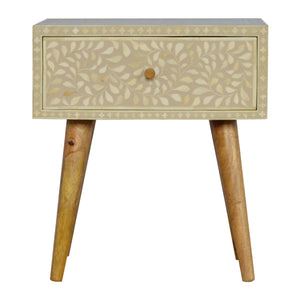 The Artisan Collection - Nordic Style Single Drawer Grey Floral Bone Inlay Bedside Table