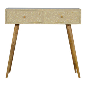 The Artisan Collection - Hand Made Nordic Style Two Drawer Grey Floral Bone Inlay Console Table