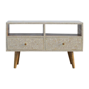 The Artisan Collection - Nordic Style Two Drawer Grey Floral Bone Inlay Media Unit