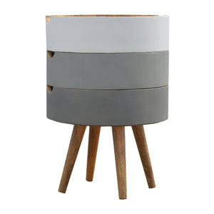 The Artisan Collection - Round Three Drawer Drawer Grey Painted Bedside Table with Removable Drawers
