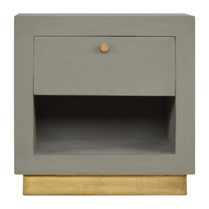 The Artisan Collection - Cement Bedside Table with Gold Detailing and Open Compartment