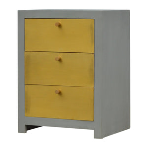 The Artisan Collection - Hand Made Sleek Cement Bedside Table with Three Gold Front Drawers