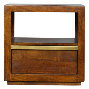 The Artisan Collection - Single Drawer Chestnut Bedside Table with Gold Pull out Bar