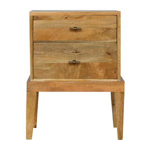 The Artisan Collection - Hand Made Two Drawer Solid Wood Bedside Table with T-Bar Knobs