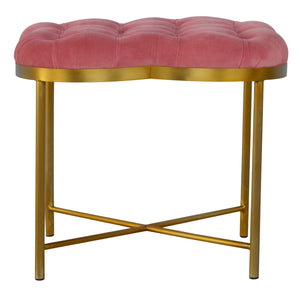 The Artisan Collection - Clover Shaped Deep Button Footstool Upholstered in Pink Velvet with Golden Base