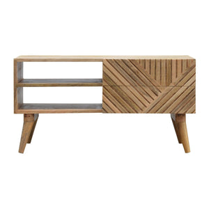 The Artisan Collection - Two Drawer Solid Wood Line Carved Media Unit With Two Open Slots