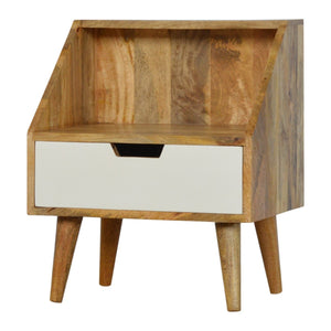 The Artisan Collection - Single Drawer White Hand Painted Bedside Table with Raised Back