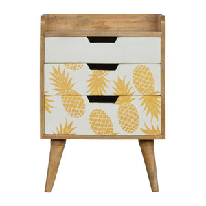 The Artisan Collection - Hand Made Three Drawer Bedside Table with Pineapple Screen Printed Drawer Fronts