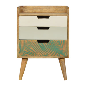 The Artisan Collection - Nordic Style Bedside Table with Foliage Leaf Print Drawer Front