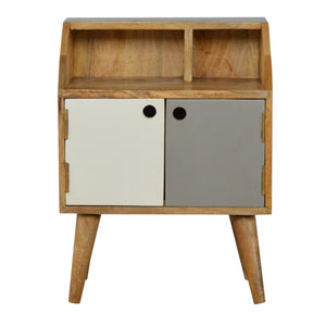 The Artisan Collection - Hand Made Hand Painted Bedside Table with Two Open Slots and Two Doors