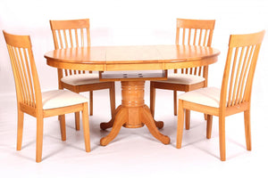 The Leicester Range - Light Oak Solid Rubberwood Dining Set