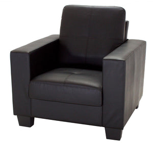 The Lena Range - Black, Brown Bonded Leather and PVC One Seater Sofa