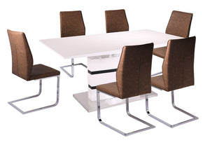 The Leona Range - White and Black High Gloss Dining Table