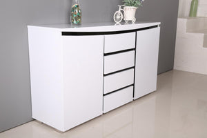 The Leona Range - White and Black High Gloss Sideboard