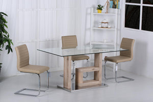 The Lucia Range - Chrome and Brown PU Leather Dining Chairs
