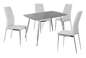 The Lynx Range - Chrome and White PU Leather Dining Chairs
