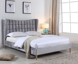 The Mahala Range - Silver Crushed Velvet King size Bed