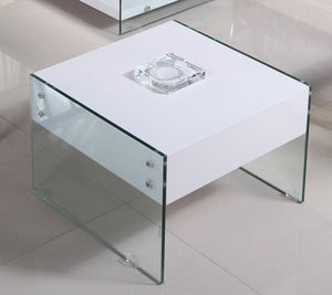 The Marco Range - White Glass High Gloss Lamp Table