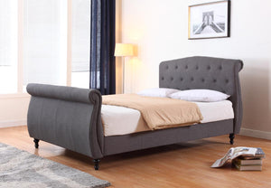 The Marianna Range - Dark Grey Linen King size Bed
