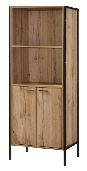 The Michigan Range - Oak Effect Metal Frame Bookcase