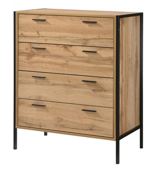 The Michigan Range - Oak Effect Metal Frame Chest of Drawers