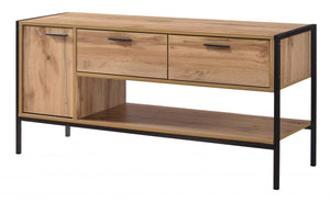 The Michigan Range - Oak Effect Metal Frame Media Unit