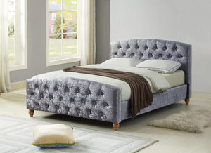 The Millbrook Range - Silver Chrushed Velvet King size Bed