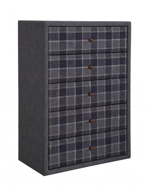 The Nepal Range - Grey Chequer Fabric Chest of Drawers