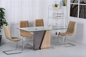 The Olivia Range - Glass Top Solid Wood Dining Table