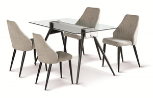 The Tessa Range - Light Grey Fabric, Clear Glass Dining Set