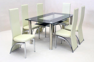 The Vegas Range - Black or Cream Chrome Dining Set