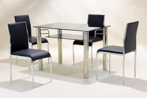 The Vercelli Range - Black Glass Dining Set