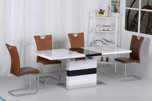The Vienna Range - Chrome and Brown PU Leather Dining Set