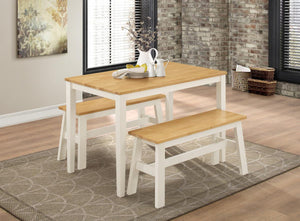 The Washington Range - Natural Oak and White Solid Rubberwood Dining Sets