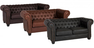 The Winston Range - Brown, Auburn Red or Black Leather and PVC Three Seater Sofa