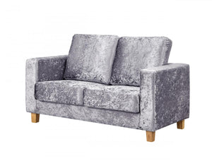 The Chesterfield Range - Silver Crushed Velvet Two Seater Sofa