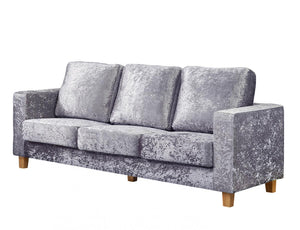 The Chesterfield Range - Silver Crushed Velvet Three Seater Sofa