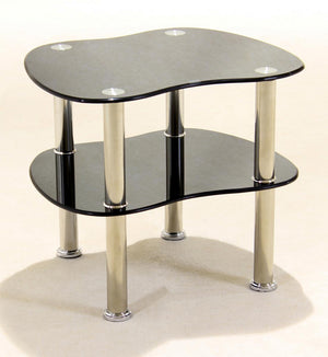 The Hudson Range - Black Glass and Chrome Lamp Table