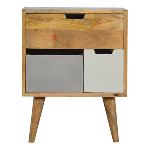 The Artisan Collection - Solid Wood Nordic Style Bedside Table with Three Multi Removable Drawers