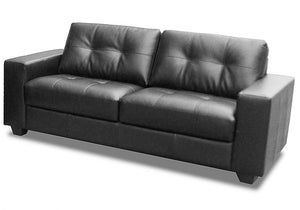 The Lena Range - Black, Brown Bonded Leather and PVC Three Seater Sofa
