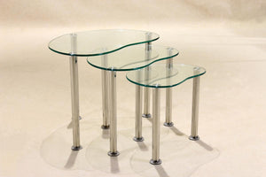 The Logan Range - Clear Glass Chrome Nesting Table