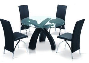 The Marston Range - Chrome and Black PU Leather Dining Chairs