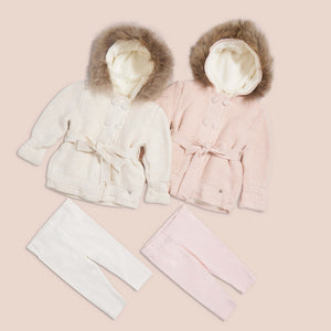 Baby mio beige cardigan removable fur