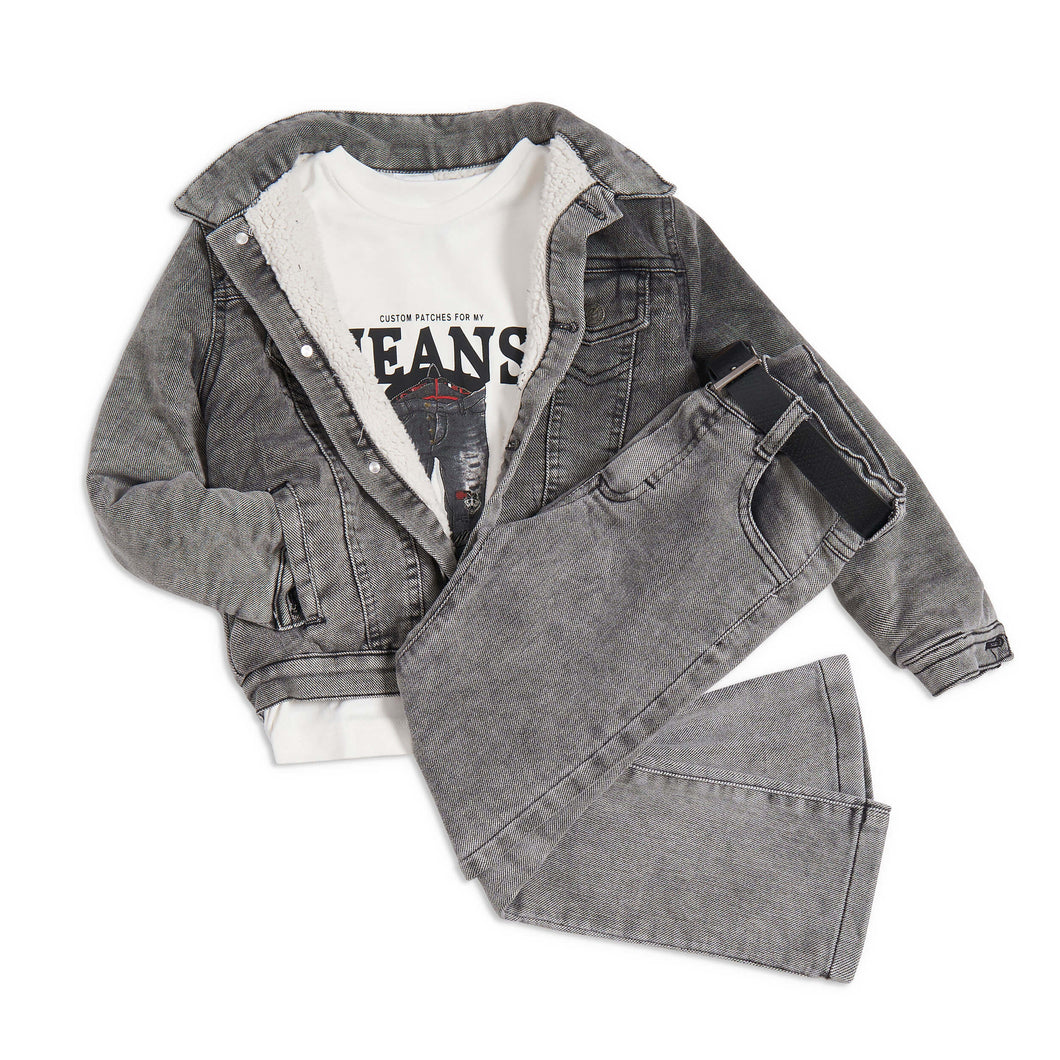 Grey denim 4 piece outfit